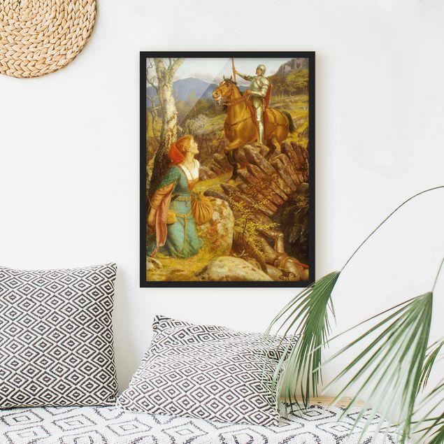 Bild mit Rahmen - Arthur Hughes - Der Sturz des Rostigen Ritters - Hochformat 3:4