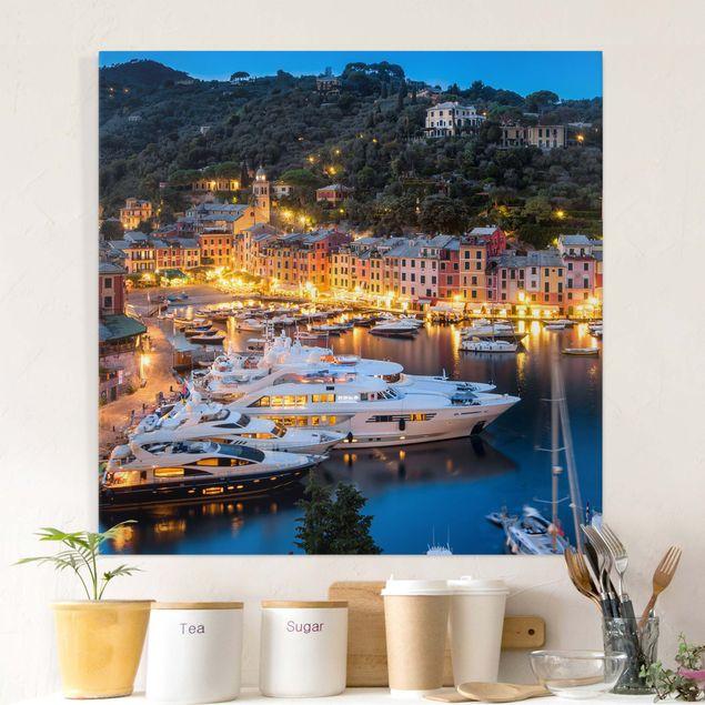 Leinwandbild - Nacht im Hafen von Portofino - Quadrat 1:1