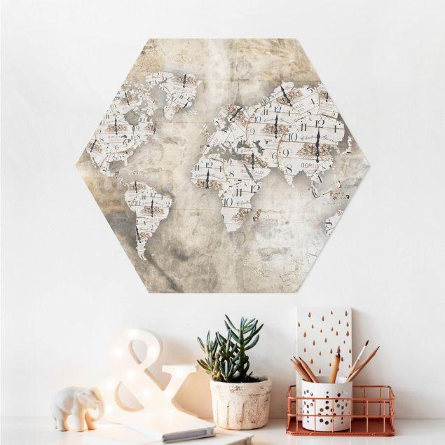 Hexagon Bild Alu-Dibond - Shabby Uhren Weltkarte