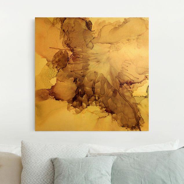 Leinwandbild Gold - Goldbraune Explosion I - Quadrat 1:1