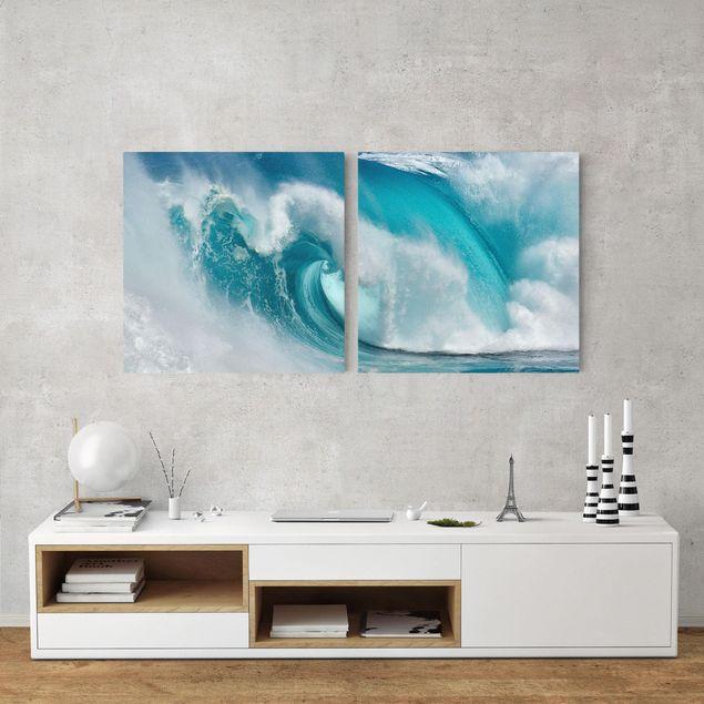 Leinwandbild 2-teilig - Tosende Wellen - Quadrate 1:1