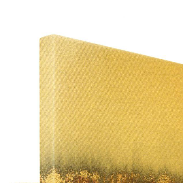 Leinwandbild Gold - Goldspuren in Aquarell - Querformat 3:2