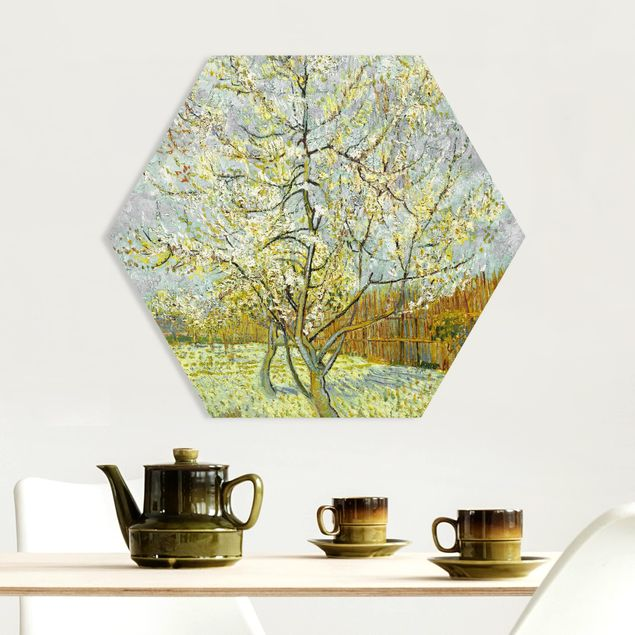 Hexagon Bild Forex - Vincent van Gogh - Pfirsichbaum rosa