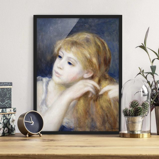 Bild mit Rahmen - Auguste Renoir - Kopf eines Mädchens - Hochformat 3:4
