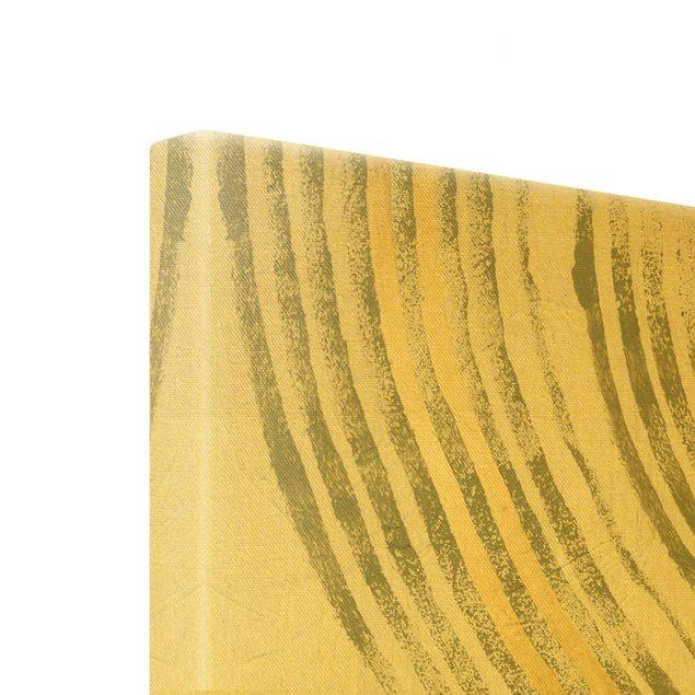 Leinwandbild Gold - Ausgehende Wellen Gold I - Hochformat 3:4