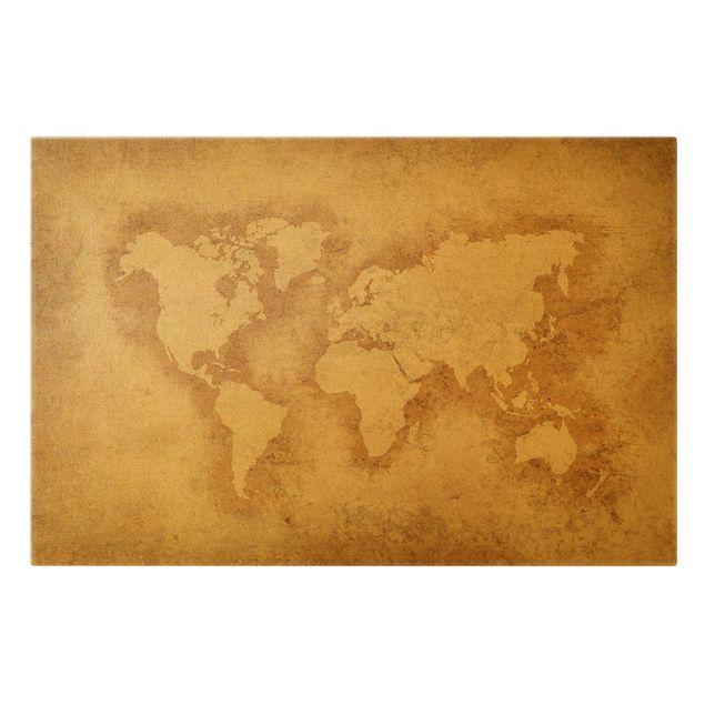 Leinwandbild Gold - Antike Weltkarte - Querformat 3:2