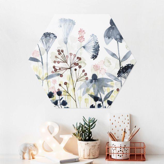 Hexagon Bild Forex - Wildblumen Aquarell I