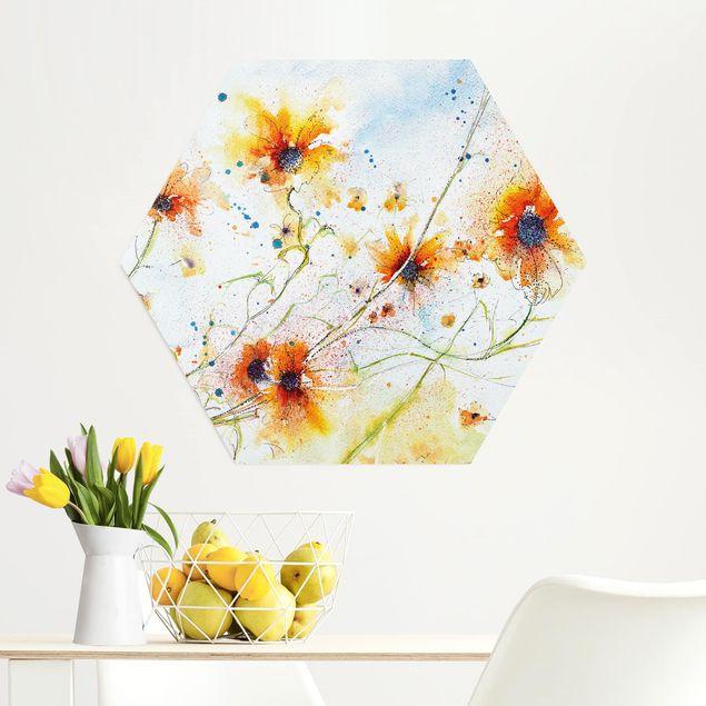 Hexagon Bild Alu-Dibond - Painted Flowers