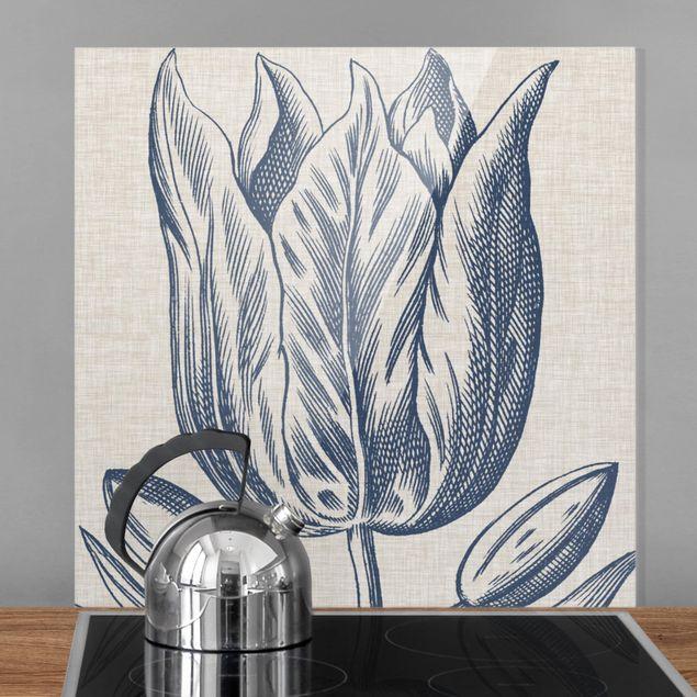 Glas Spritzschutz - Indigo Blüte auf Leinen II - Quadrat - 1:1