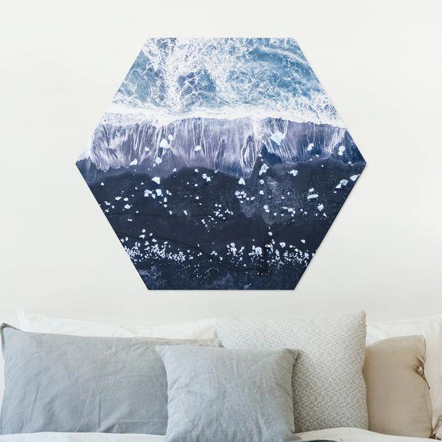 Hexagon Bild Alu-Dibond - Luftbild - Jökulsárlón in Island