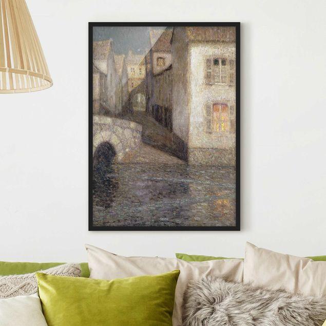 Bild mit Rahmen - Henri Le Sidaner - Die Häuser am Fluss - Hochformat 3:4