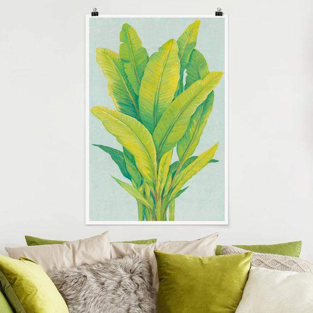 Poster - Gelbgrüne Bananenblätter - Hochformat 3:2