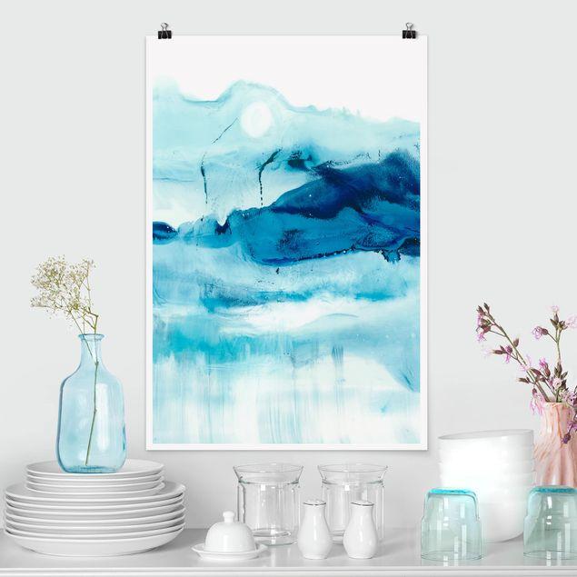 Poster - Blaue Strömung I - Hochformat 3:2