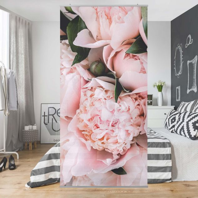 Raumteiler - Rosa Pfingstrosen mit Blättern - 250x120cm