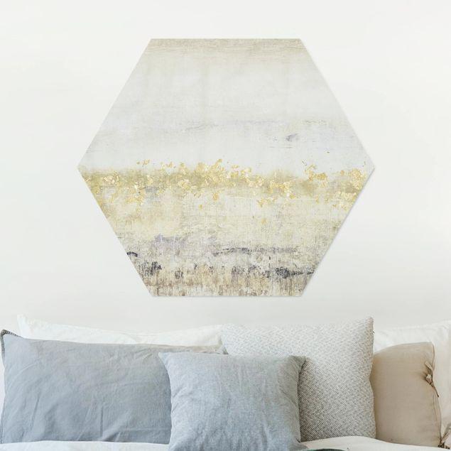 Hexagon Bild Alu-Dibond - Goldene Farbfelder II
