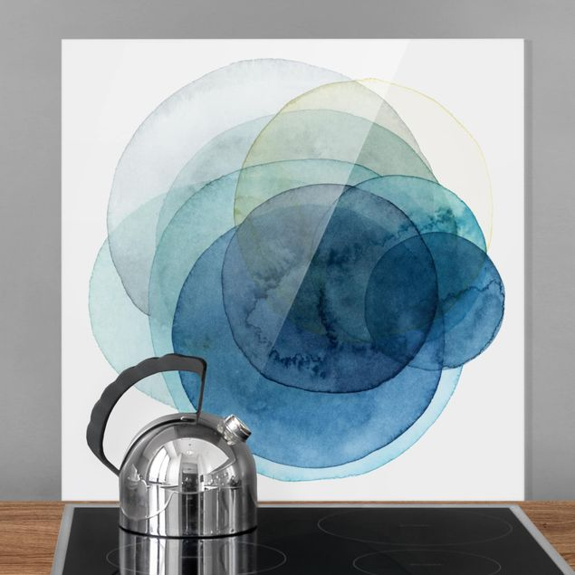 Glas Spritzschutz - Urknall - blau - Quadrat - 1:1