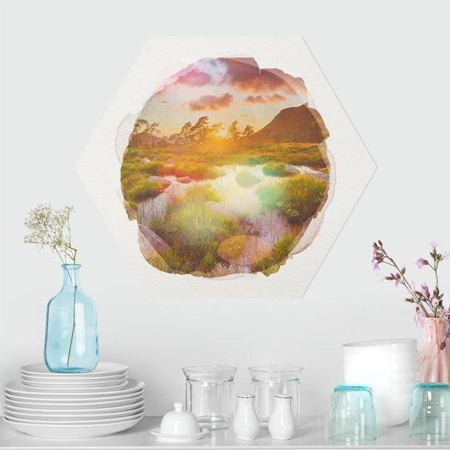 Hexagon Bild Forex - Wasserfarben - Tverrdalsbekken