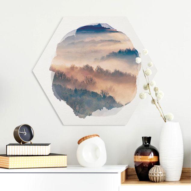 Hexagon Bild Forex - Wasserfarben - Nebel bei Sonnenuntergang