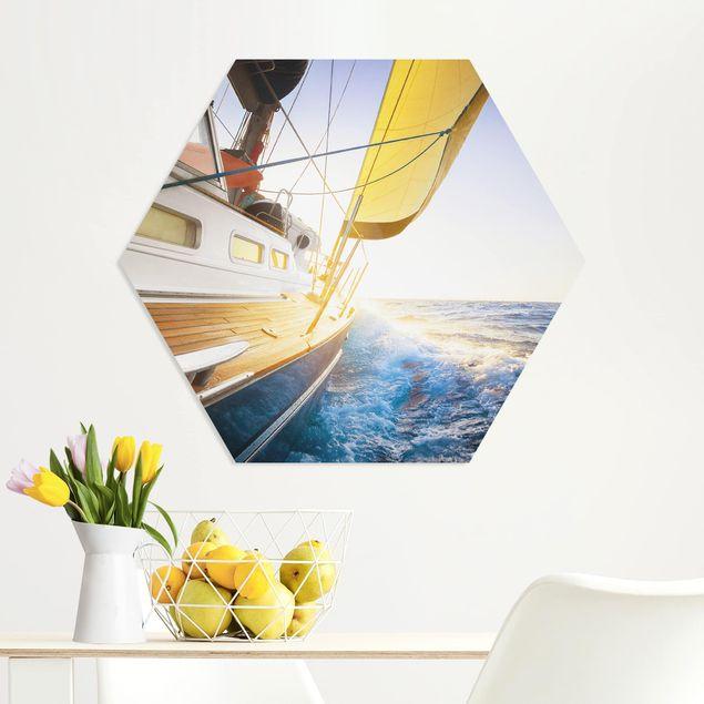 Hexagon Bild Forex - Segelboot auf blauem Meer bei Sonnenschein