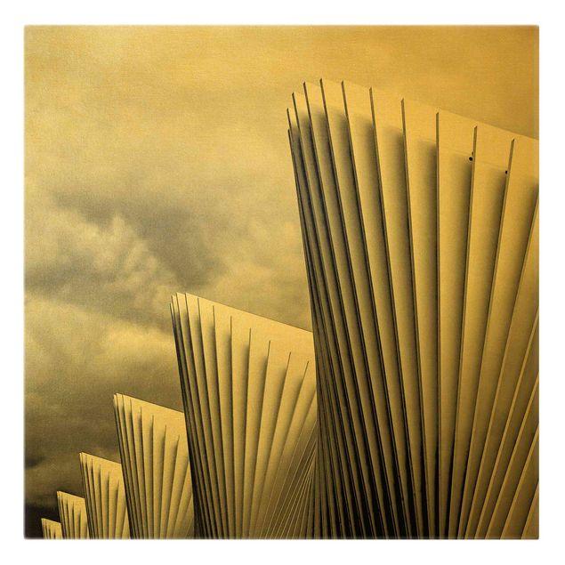 Leinwandbild Gold - Licht und Schatten Architektur - Quadrat 1:1
