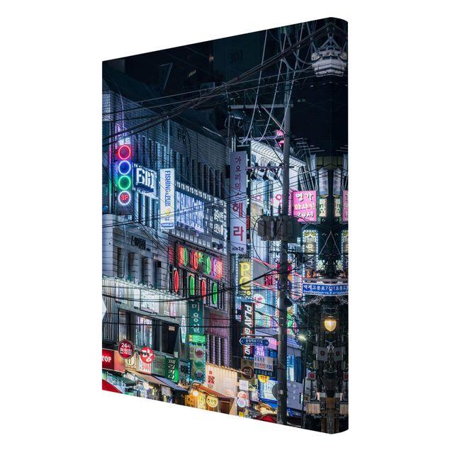 Leinwandbild - Nachtleben von Seoul - Hochformat 2:3