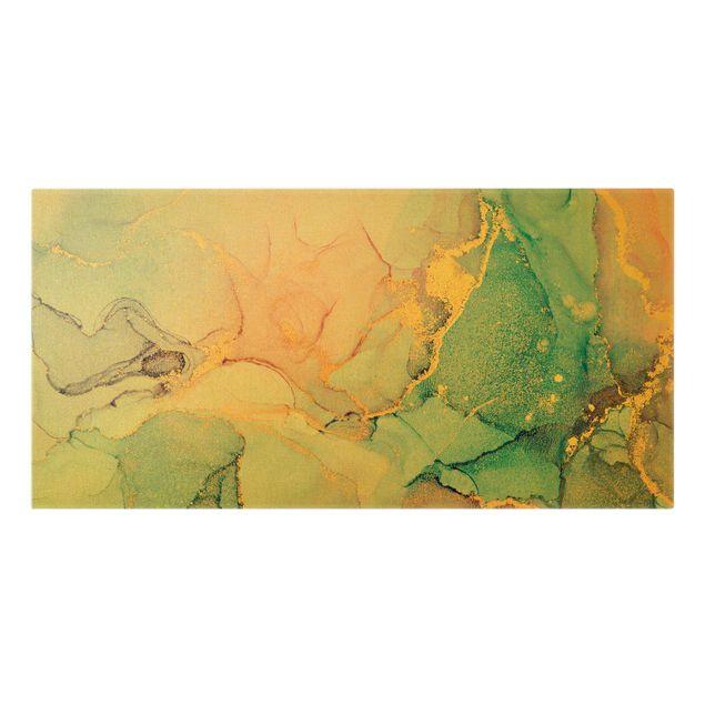 Leinwandbild Gold - Aquarell Pastell Bunt mit Gold - Querformat 2:1