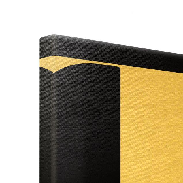 Leinwandbild Gold - Antiqua Letter T Schwarz - Hochformat 3:4