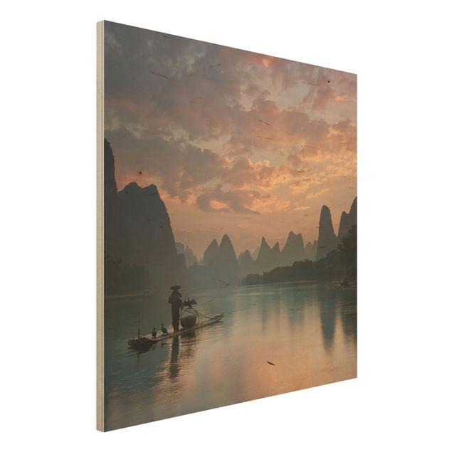 Holzbild - Sonnenaufgang über chinesischem Fluss - Quadrat 1:1