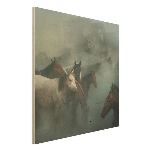 Holzbild - Wilde Pferde - Quadrat 1:1