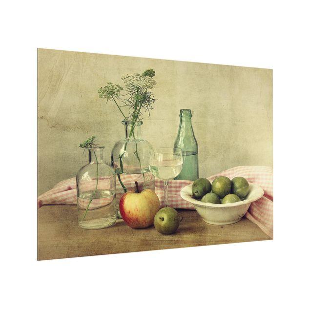 Glas Spritzschutz - Stillleben mit Flaschen - Querformat - 4:3