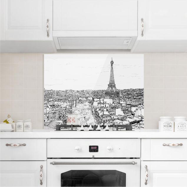 Glas Spritzschutz - Stadtstudie - Paris - Querformat - 4:3