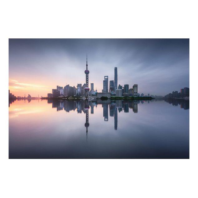 Forex Fine Art Print - Shanghai Skyline Morgenstimmung - Querformat 2:3