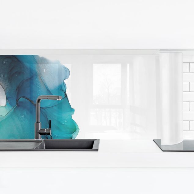 Küchenrückwand - Ozeantropfen Türkis mit Gold
