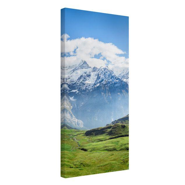 Leinwandbild - Schweizer Alpenpanorama - Hochformat 1:2
