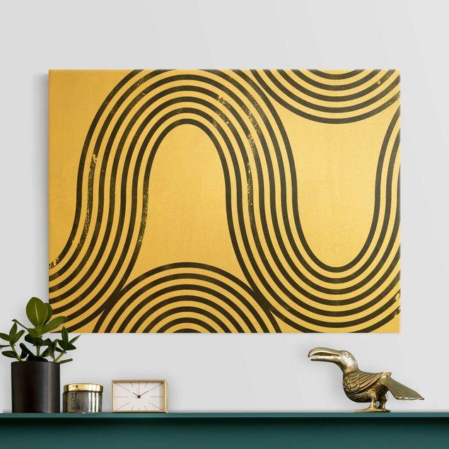 Leinwandbild Gold - Geometrische Wellen Schwarz Weiß I - Querformat 4:3