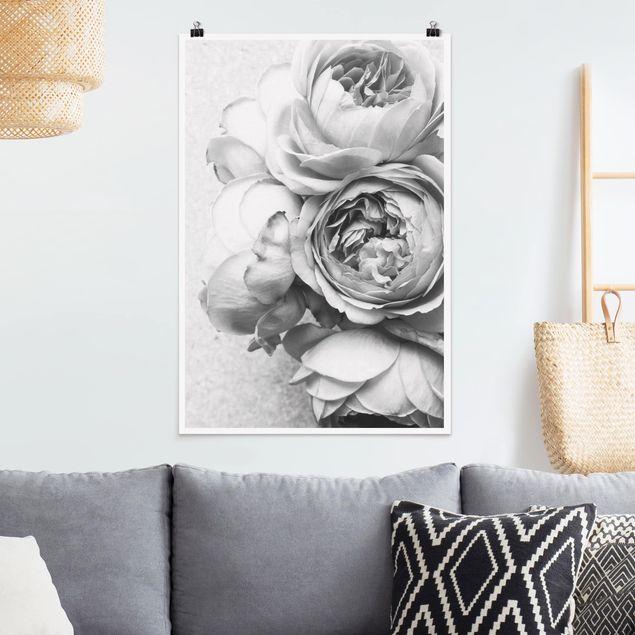 Poster - Pfingstrosenblüten Schwarz Weiß - Hochformat 3:2