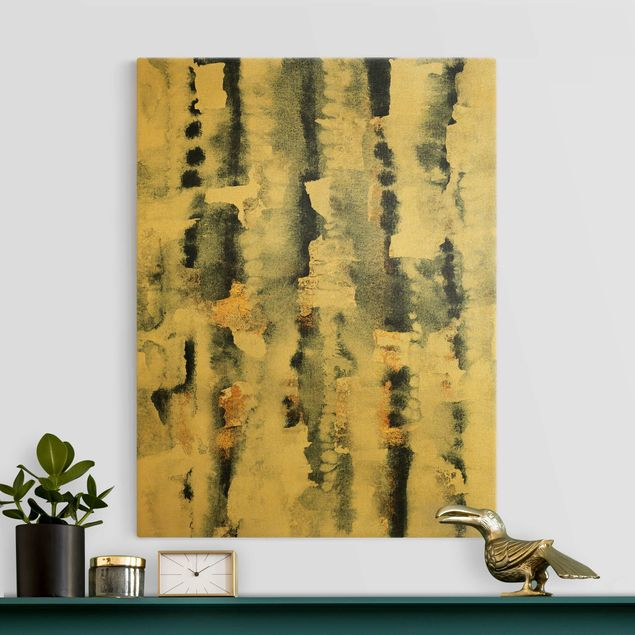 Leinwandbild Gold - Abstraktes Aquarell mit Gold - Hochformat 3:4