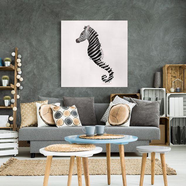 Leinwandbild - Jonas Loose - Seepferdchen mit Zebrastreifen - Quadrat 1:1