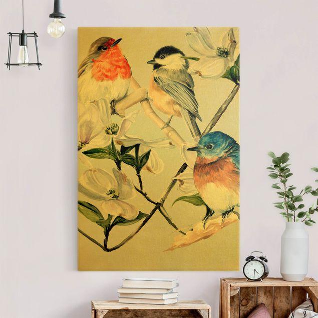 Leinwandbild Gold - Bunte Vögel auf einem Magnolienast I - Hochformat 2:3