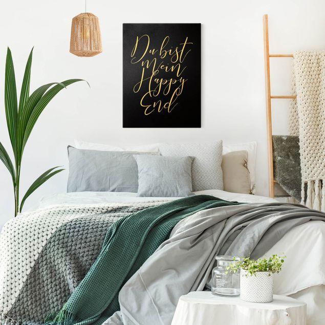 Leinwandbild Gold - Du bist mein Happy End Schwarz - Hochformat 3:4