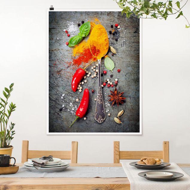 Poster - Löffel mit Gewürzen - Hochformat 3:4