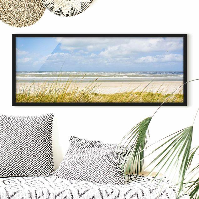 Bild mit Rahmen - An der Nordseeküste - Panorama Querformat