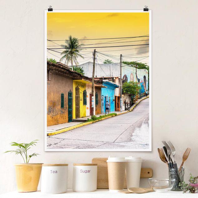 Poster - Bunte Straße Sonnenuntergang - Hochformat 3:4