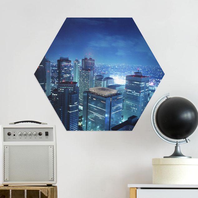 Hexagon Bild Alu-Dibond - Die Atmosphäre Tokios