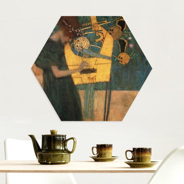 Hexagon Bild Alu-Dibond - Gustav Klimt - Die Musik