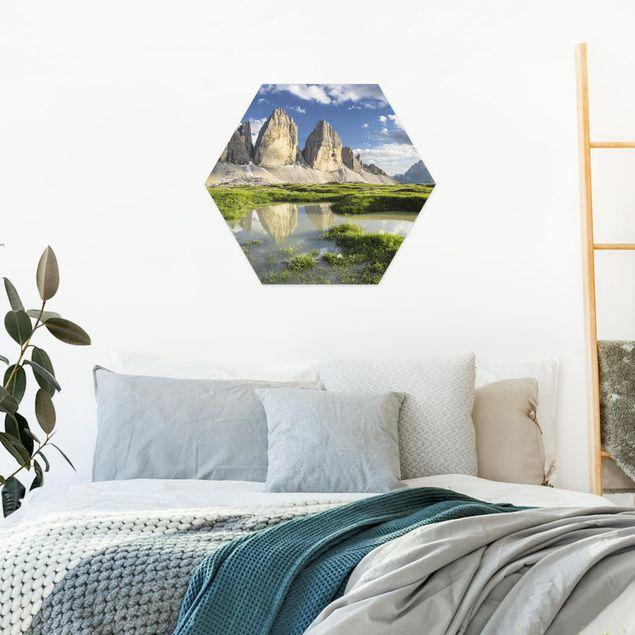 Hexagon Bild Forex - Südtiroler Zinnen und Wasserspiegelung
