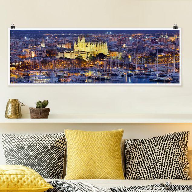 Poster - Palma de Mallorca City Skyline und Hafen - Panorama Querformat