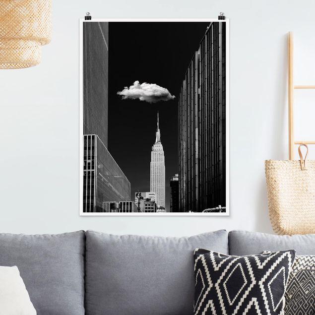 Poster - New York mit einzelner Wolke - Hochformat 3:4