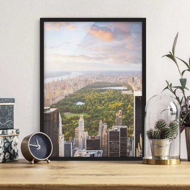 Bild mit Rahmen - Blick über den Central Park - Hochformat 3:4