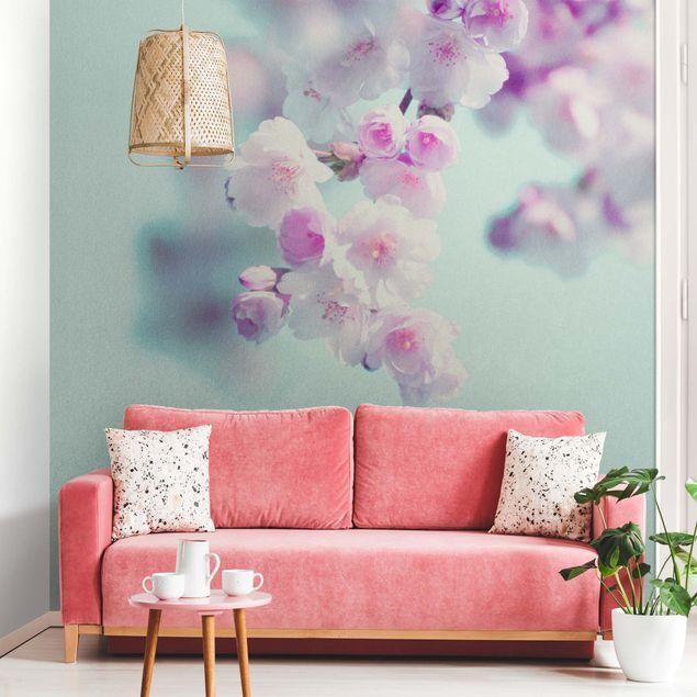Metallic Tapete - Farbenfrohe Kirschblüten